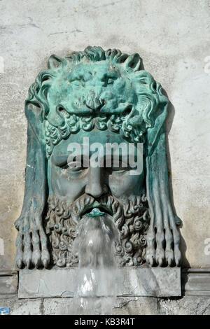 France, Bouches du Rhone, Arles, Place de la Republique, the fountain obelisk - Stock Photo