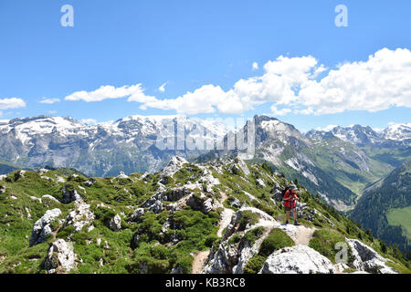 France, Savoie, Vanoise massif, Tarentaise valley, Courchevel, hiking on the Dent Du Villard (2284 m) and peak of - Stock Photo