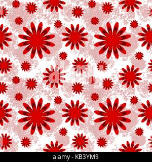 Beautiful floral seamless pattern in red and white - Stock Photo