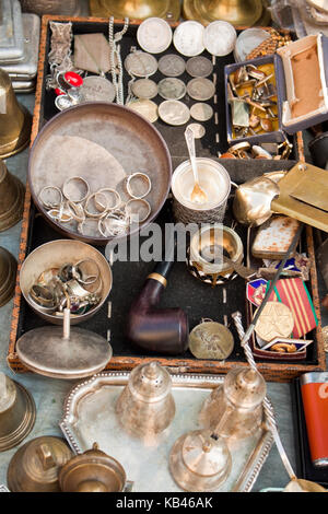 Lviv, Ukraine - July 16, 2015: Various old things for sale on a flea market in Lviv, Ukraine. - Stock Photo