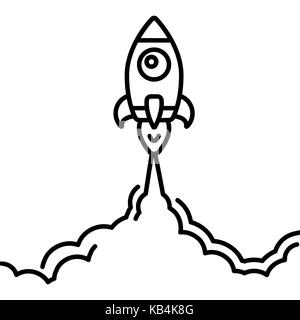 Minimalistic rocket launch line icon. Rocket illustration with clouds, space and launch fire, line art. - Stock Photo