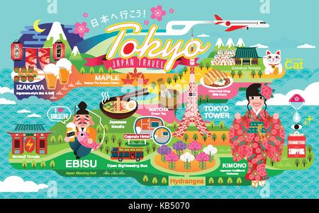 Japan Travel poster, tokyo attractions and traditional culture symbols, Let's go to Japan and gastropub in Japanese - Stock Photo