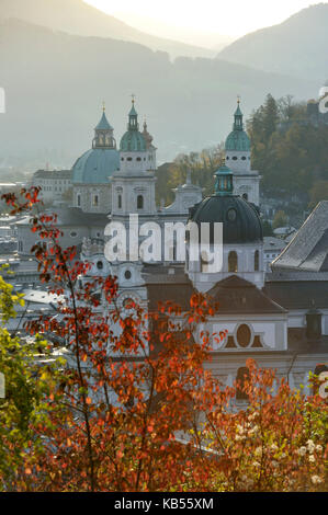 Austria, Salzburg, historic centre listed as World Heritage by UNESCO, domes of historic centre with the cathedral - Stock Photo