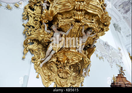 Austria, Tyrol, Inntal valley, Stams citercian Abbey, the pulpit - Stock Photo