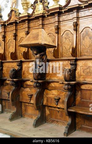 Austria, Tyrol, Inntal valley, Stams citercian Abbey, the stalls - Stock Photo