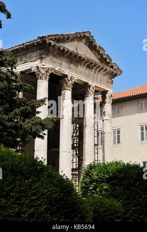 Croatia, Istria, Adriatic Coast, Pula, Temple of Augustus - Stock Photo