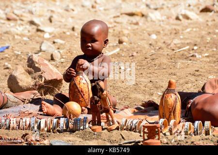 Namibia, Kaokoland or Kaokoveld, Himba village - Stock Photo