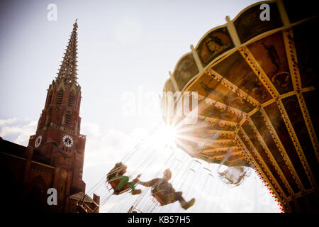 fun rides on the Auer Dult, Au, Munich, Bavaria, Germany - Stock Photo