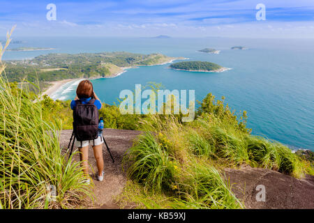 Pha Hin Dum viewpoint locate is on the highest mountain can see wind turbine,Phomthep cape Rawai beach and Chalong - Stock Photo