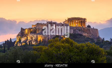 Morning view of Acropolis from Pnyx in Athens, Greece. - Stock Photo