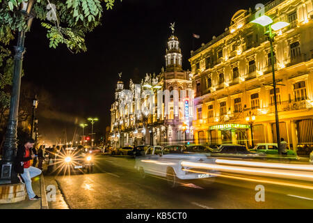 Cityscape view of the Hotel Inglaterra taken at night, taken from the Prado in old Havana, Cuba, West Indies, Central - Stock Photo