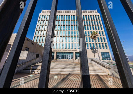 The Embassy of the United States of America, reinstated as of July 20, 2015 in Havana, Cuba, West Indies, Central - Stock Photo
