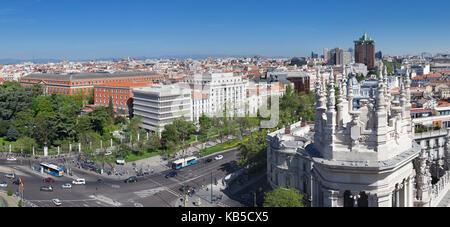 View from Palacio de Comunicaciones over Plaza de la Cibeles square at Madrid, Spain, Europe - Stock Photo