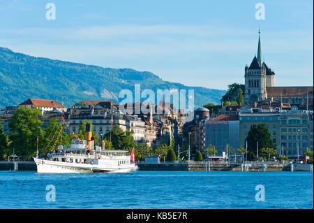 Steamboat, Lake Geneva, Geneva, Switzerland, Europe - Stock Photo