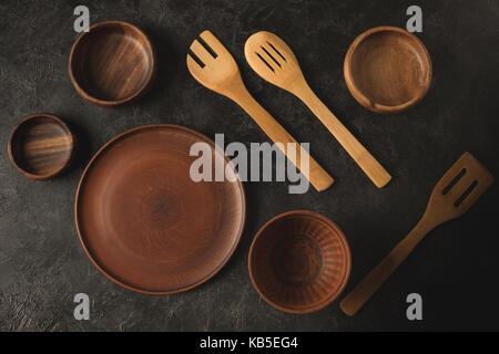 wooden tableware - Stock Photo