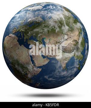 Earth globe - Eurasia 3d rendering - Stock Photo