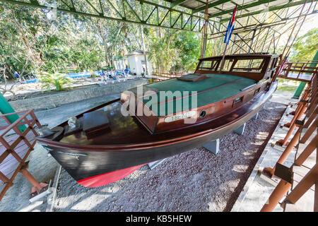 Ernest Hemingway's boat named Pilar at Finca Vigia (Finca La Vigia), in San Francisco de Paula Ward in Havana, Cuba - Stock Photo