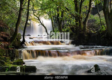 Bowlees, Teesdale, County Durham UK. 28th Sep, 2017. UK Weather. Heavy overnight rain has created some beautiful - Stock Photo