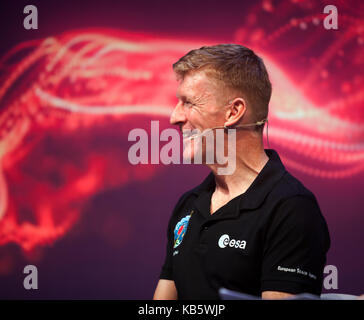 London, UK. 28th Sep, 2017. Tiim Peake,  European Space Agency astronaut. discussing his experiences on the ISS - Stock Photo