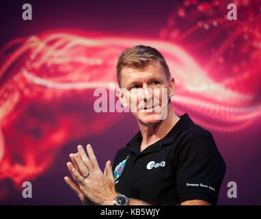 Tim Peake, European Space Agency Astronaut, discussing his experiences on the International Space Station at  New - Stock Photo