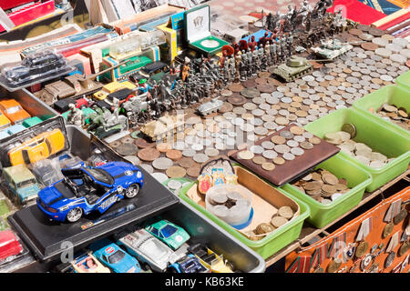 Lviv, Ukraine - July 10, 2015: Various vintage things for sale on a flea market. - Stock Photo