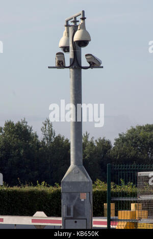 An array of CCTV cameras attached to a post at Stansted Airport, Stansted Mountfitchet, Essex, England - Stock Photo