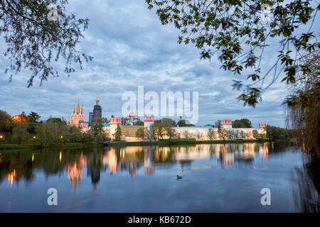 Novodevichy Convent at dusk. Moscow, Russia. - Stock Photo