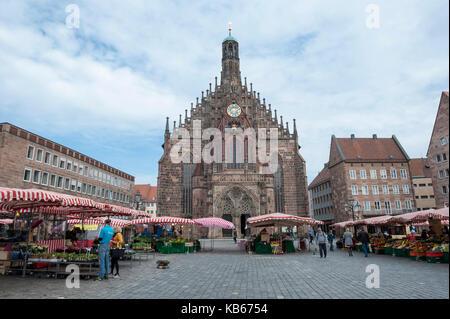 Frauenkirche, Nuremberg, Middle Franconia, Bavaria, Germany, Europe - Stock Photo