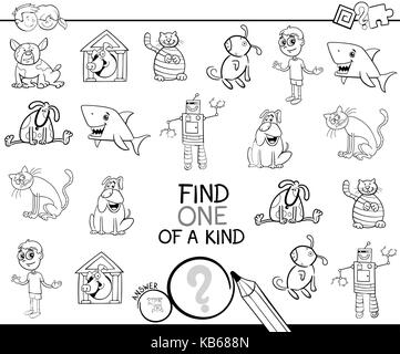 Black and White Cartoon Illustration of Find One of a Kind Educational Activity Game for Children with Funny Characters - Stock Photo