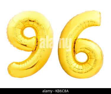 Golden number 96 ninety six made of inflatable balloon - Stock Photo