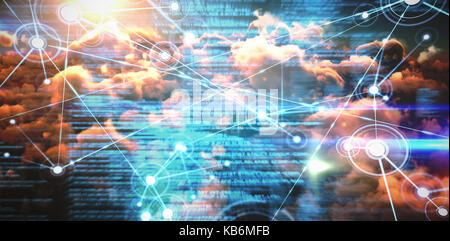 Composite image of interface connecting lines over orange clouds  against blue blurred texts - Stock Photo