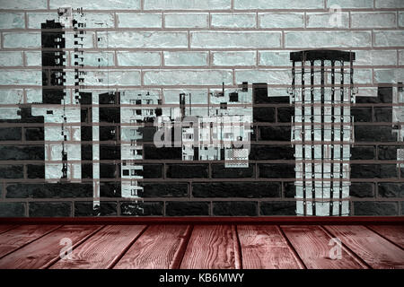 Digital image of buildings against close-up of brick wall - Stock Photo