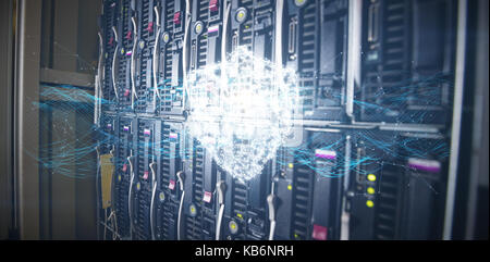 Composite image of glowing shield and connecting lines against blue background against towers in server room - Stock Photo