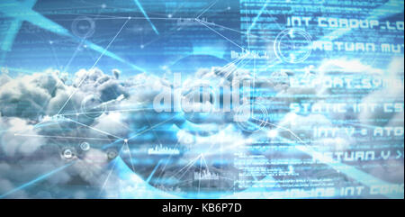Composite image of interface connecting lines over clouds  against abstract blue text - Stock Photo