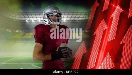 Digital composite of American football player with stadium transition and arrows - Stock Photo