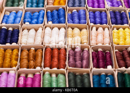 Colored threads for sewing machine in box - Stock Photo