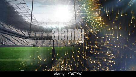 Digital composite of Sports stadium lights transition effect with fireworks - Stock Photo