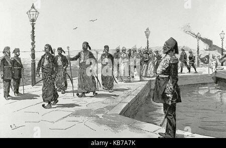 Israel. Haifa. Reception of German dignitaries by the general and politician Mustafa Kemal Ataturk (1881-1938). - Stock Photo