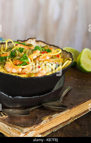 Prawn and coconut laksa - spicy noodle soup in the Peranakan cuisine - Stock Photo
