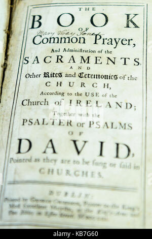 Old Book of Common Prayer from the Church of Ireland. - Stock Photo