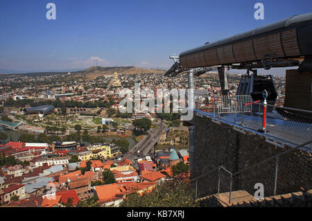 Panorma of Tbilisi from top cable station, Georgia - Stock Photo