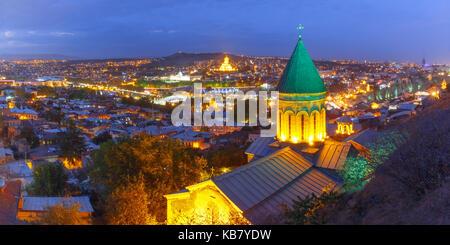 Night aerial view of Old Town, Tbilisi, Georgia - Stock Photo