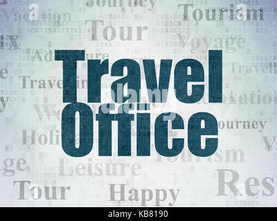Tourism concept: Travel Office on Digital Data Paper background - Stock Photo