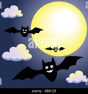 Bat with Moon and Clouds on Night Sky background, for Halloween concept-Vector Illustration. - Stock Photo