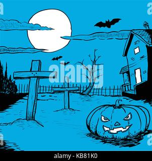 Hand drawn of Halloween night, Illustration of mysterious night landscape with graveyard, pumpkin head, bats and - Stock Photo