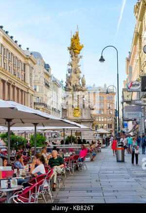 VIENNA, AUSTRIA - AUGUST 28: People at a restaurant in the pedestrian area of Vienna, Austria on August 28, 2017. - Stock Photo