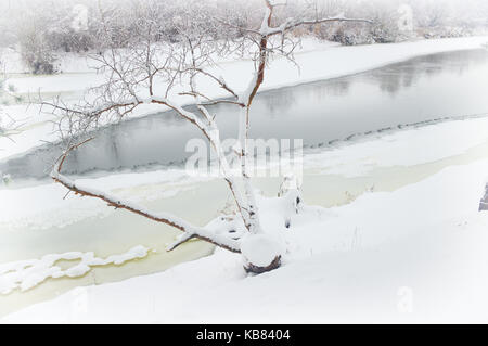 winter river ice-bound shores covered - Stock Photo