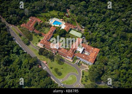 Belmond Hotel das Cataratas, Iguazu Falls, Parana State, Brazil, South America - aerial - Stock Photo
