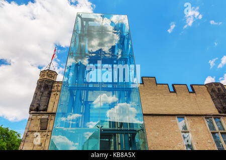 Cologne, Germany - July 03, 2017: historical Guerzenich in the old town of Cologne with modern glass elevator. Today - Stock Photo