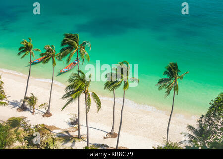 Paradise beach on tropical island. Ang Thong National Marine Park,Thailand. Top view - Stock Photo